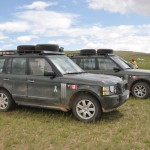 Our diesel Range Rovers have a rest - just out of Gobi Desert, Mogolia