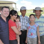 We run into a former crew member and relatives in Kharkorin, Mongolia