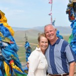 Gillian and Terry - roadside shrine - Mongolia