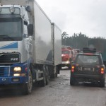 Lots of truck traffic on Trans-Siberian Highway
