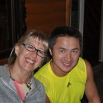 Ellen and our lead car driver Sergei (our final dinner with him) - he has been with us for 30 days; from the Mongolian border