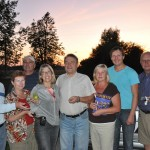 Sunset - with our new guide - Edgars; we stop outside Riga, Latvia to meet his parents who give us fruit and vegetables
