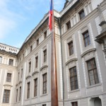 Neat laminated wooden flag pole