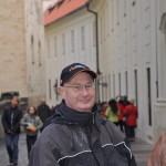 Russ bundled up - quite cool, but sunny, day - Praha, CZ