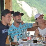 New friends from Germany with Canada hats - lunch stop - Slovenia