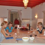Ladies teach cribbage to Tatiania - Korcula, Croatia