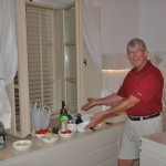 Norm prepares dinner in our hotel suite - Korcula, Croatia