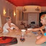 Ladies teach cribbage to Tatiania - Korcula, Croati