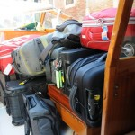 Luggage aboard water taxi - Venice, Italy