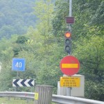 Ten minutes between lights for long stretch of narrow road - Slovenia