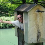 Terry enjoys cable car - Sava River, Slovania