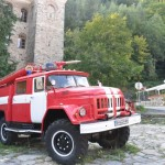Well kept fire truck; Rila Monastery - Bulgaria