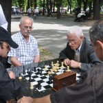 Elderly men playjng chess in city park- Belgrade, Serbia