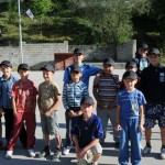 Bosnian boys receive Canada hats