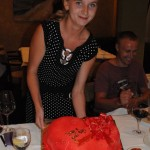 Tatiana presents heart cake as a going away present - Belgrade, Serbia