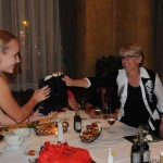 Ellen presents small gift to Tatiana as we bid her adieu - Belgrade, Serbia