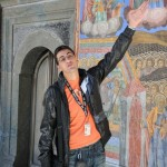 Our guide 'George' explains mural at Rila Monastery - Bulgaria