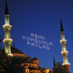Blue Mosque decorated for Ramadan (share your  meal with the poor) - Istanbul, Turkey
