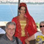 Bus girl poses with Roger and Sylvia - Istanbul, Turkey