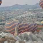 Some of the 50 hot air balloons ready for flight - Cappadocia, Turkey
