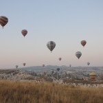 Some of the 50 hot air balloons aloft - Cappadocia, Turkey