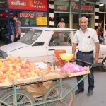 Portable fruit vendor in town - Turkey