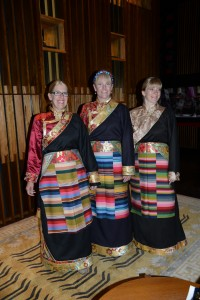 Ellen, Kirsten and Sherry model new Tibetan outfits - Shigatse, Tibet